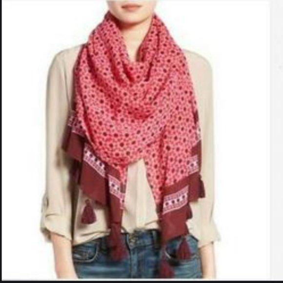 kate spade pink burgundy fringe scarf nwot